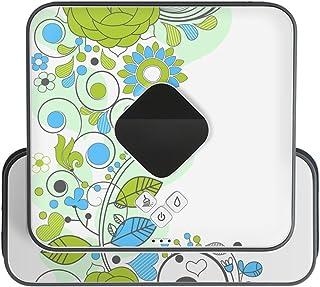 ブラーバ専用 Braava 380 380j 対応 iRobot 専用スキンシール カバー ケース 保護 フィルム ステッカー デコ アクセサリー 掃除機 家電 フラワー 花 緑 青 イラスト 005082