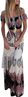 KLJR-Women Boho Crop Top Maxi Skirt Set 2 Piece Outfit Flowy Maxi Dress