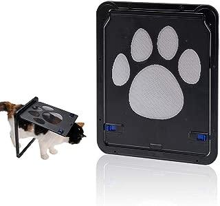 Hyindoor Pet Screen Door, Magnetic Flap Screen Automatic Lockable Black Door for Small Dog and Cat Gate
