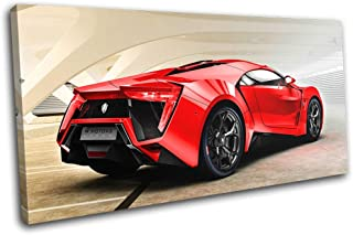Bold Bloc Design - Lykan Hypersport Exotic Supercar Cars 120x60cm Single Canvas Art Print Box Framed Picture Wall Hanging - Hand Made in The UK - Framed and Ready to Hang RC-7942(00B)-SG21-LO-B