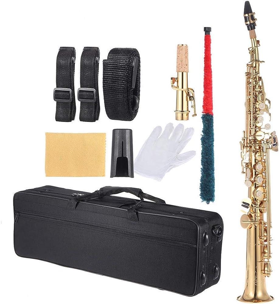 Ammoon sassofono in ottone, in si bemolle, con custodia 7W-006