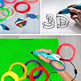 3D Pen Silicone Mat Set -3D Green Pen Pad Silicone 12.2 X 12.2 inches with 5 Basic Templates 12 Pcs 3D Pens Filament Different Colors and 2 Silicone Finger Protector for 3D Printer Pen