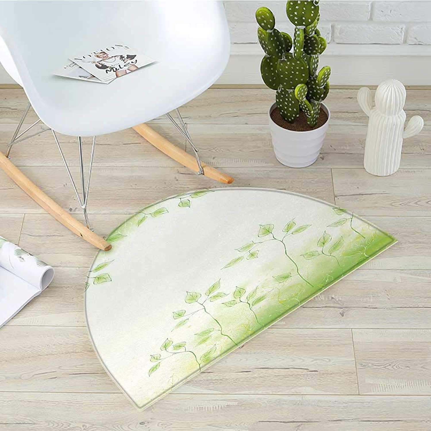 Forest Semicircular CushionFresh Foliage Design with Pastel colord Leaves Botanic Environment Eco Purity Image Entry Door Mat H 39.3  xD 59  Soft Green