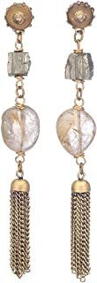 Rutiliated Quartz Rock Climber Earrings with Pyrite Accents by Designer Jan Michaels