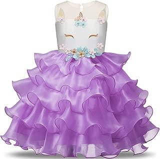 Baby Girls Unicorn Costume Pageant Party Flower Ruffles Dance Tutu Dress up