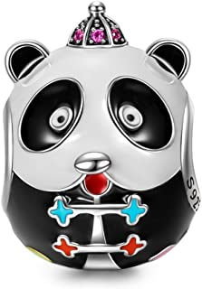 Christmas Charms Gifts Kung Fu Panda 925 Sterling Silver Charms with 5A Cubic Zirconias Multicolor Enamel Animal Bead Charms
