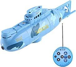 VGEBY Remote Control Submarine, RC Toy Submarine Model Diving Boat Remote Control Rechargeable Toy ( Color : Blue )