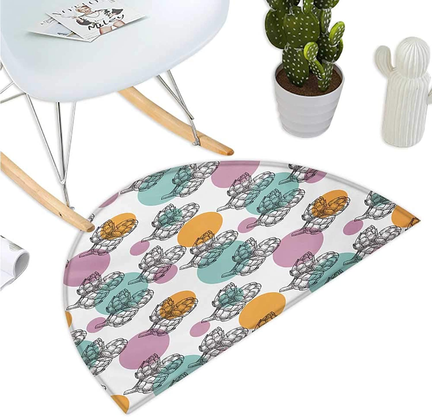 Artichoke Semicircular Cushion Vintage Inspired Dotted Backdrop with Black and White Artichokes Entry Door Mat H 35.4  xD 53.1  purplec Apricot and Turquoise