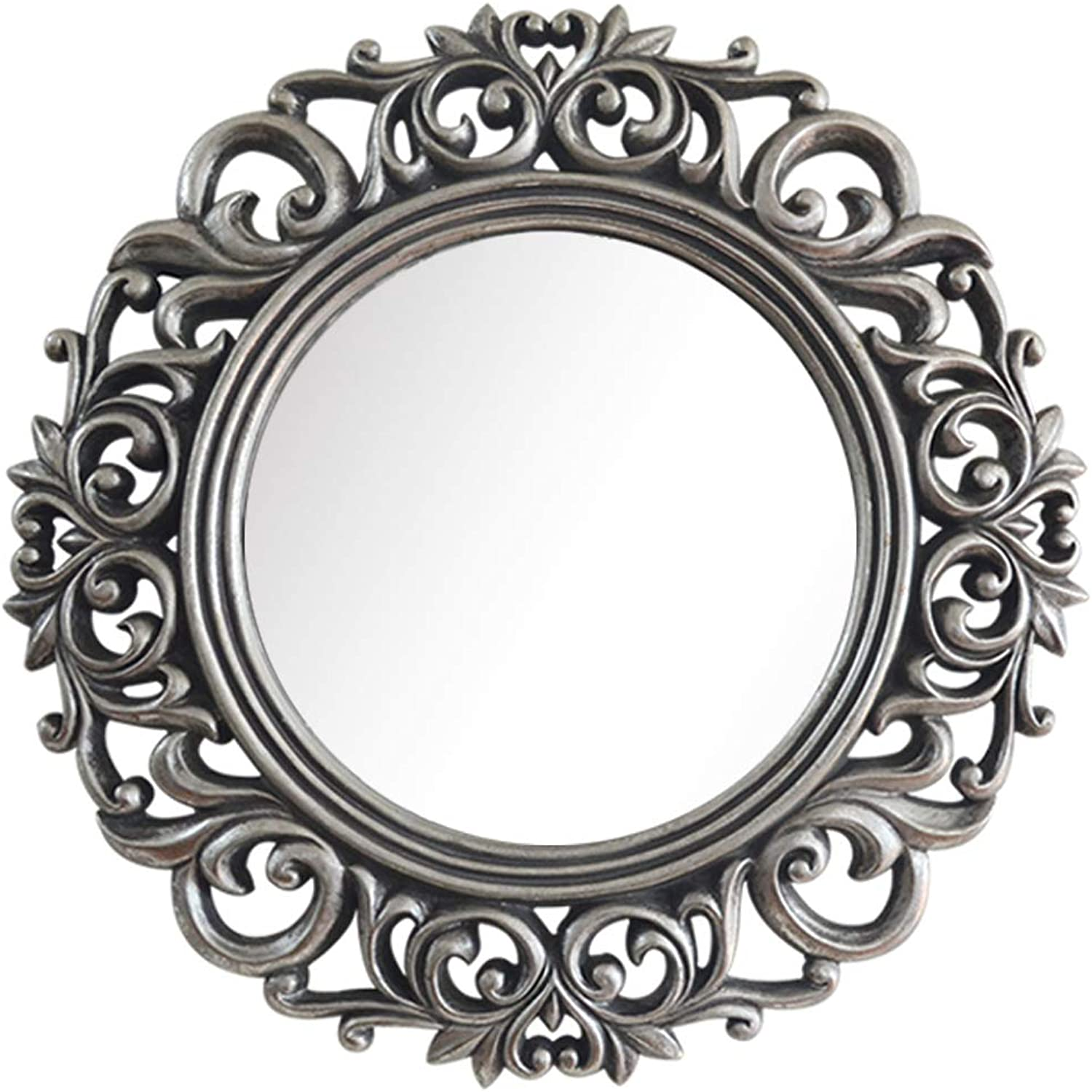 Decorative Mirror for Wall with European Style Hollow Vintage Frame 26CM Round Vanity Mirror Makeup Art Mirror for Bathroom Entry Dining Room Living Room and More