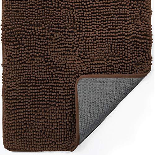 Gorilla Grip Indoor Durable Chenille Doormat, 48x30, Soft Absorbent Mat, Machine Wash Inside Mats, Low-Profile Rug Doormats for Entry, Back Door, Mud Room, Garage Floor, Home Décor Essentials, Brown