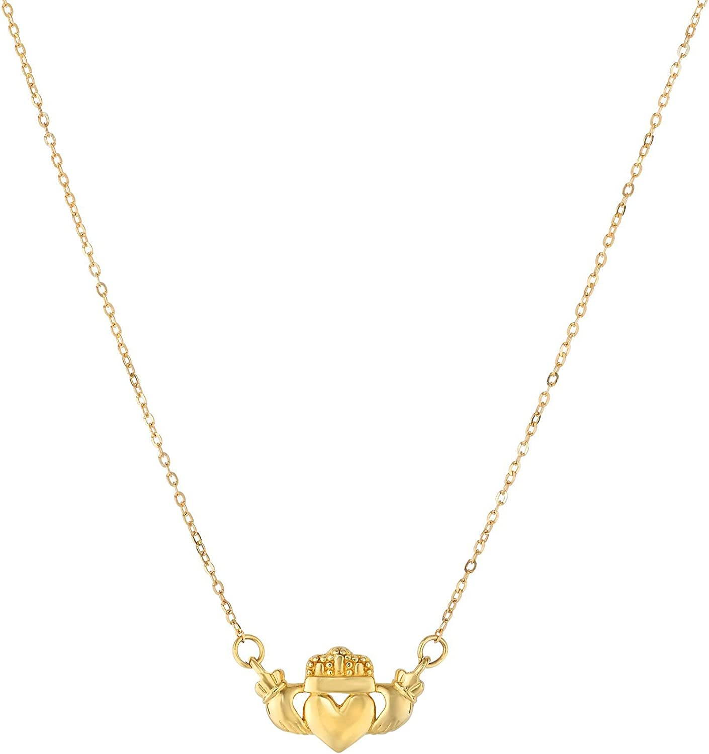 14k Yellow Gold Polished Claddagh On Center Necklace Chain Limited time for free shipping Charm Surprise price