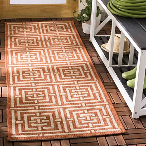 Colección Safavieh patio CY6937-21 marrón y crema de interior/al aire libre de área de corredor, 60,96 cm 10,16 cm 182,88 cm 17,78 cm