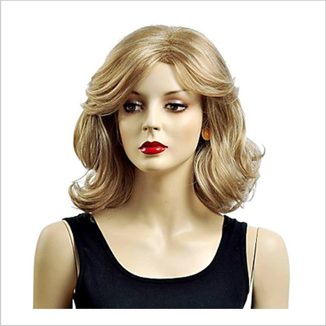 ランチョン政府毛布BOBIDYEE 白人女性のためのかつらゴールドカーリーウィッグショートふわふわウェーブのかかった人工毛ナチュラルルッキングカーリーウィッグデイリーウィッグ耐熱で分割前髪付き16 '' 180g(ゴールド)ファッションウィッグ (色 : ゴールド)