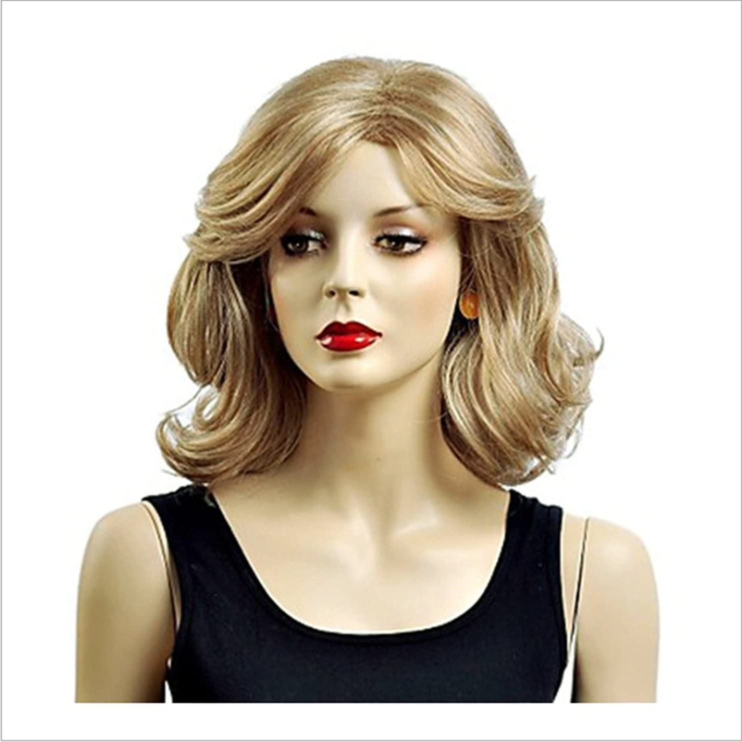 サンプル作業電話をかけるDoyvanntgo 白い女性のためのかつらゴールドカーリーウィッグ短いふわふわした波状の合成髪自然なカーリーウィッグを見て毎日のウィッグスプリットバンと耐熱16