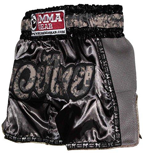 "World MMA Gear Retro Muay Thai Shorts Camo Camouflage Kickboxing Thai Boxing Trunks 4XL (38""-40"")"