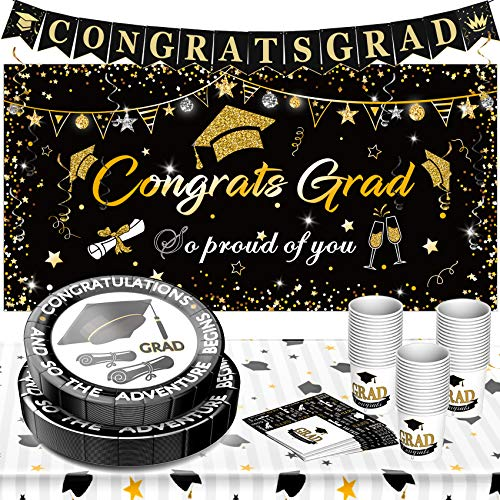Graduation Decorations 2021 Graduation Party Supplies Disposable Dinnerware Set Graduation Paper Plates and Napkins Cups Tablecloth Banner Backdrop Hanging Swirls Black Gold Plates