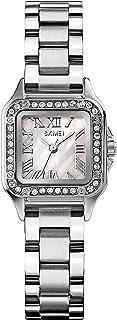 ساعة نسائية من الكوارتز بسوار من الستانلس ستيل فاخرة من حجر الراين ساعة يد للنساء كاجوال (اللون: فضي)