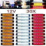 YUK Lot de 30 voyants latéraux pour remorque de camion 12/24 V 6 LED Rouge+Blanc+Jaune