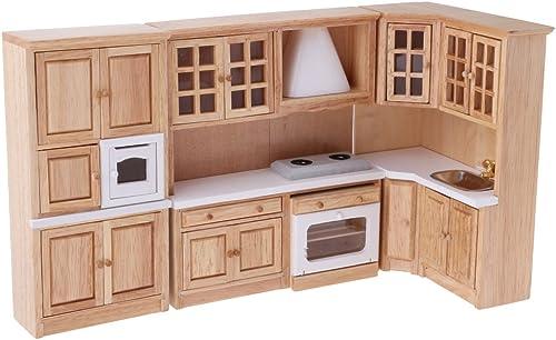 70% de descuento Homyl Escala 1 12 Miniaturas Set de Gabinete Gabinete Gabinete de Madera de Cocina Accesorios de Dollhouse  punto de venta de la marca