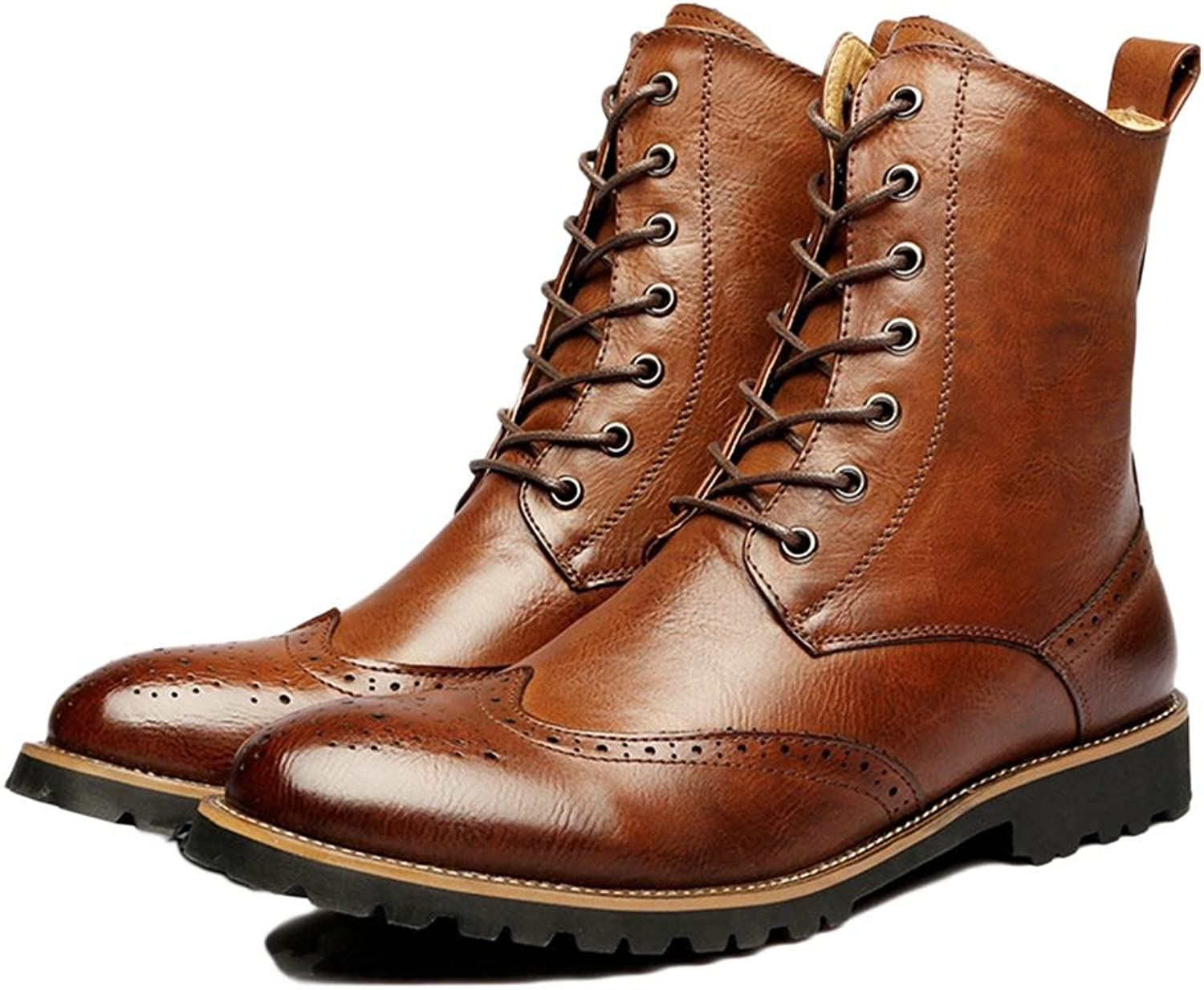 Autumn Winter Martin Boots Lace-up Men Casual High Leather Black Brown Real Size 38-43