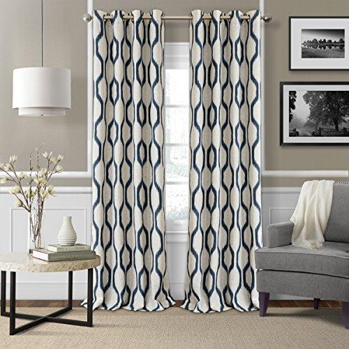 "Elrene Home Fashions Renzo Ikat Geometric Linen Room Darkening Window Curtain Panel, 52"" x 84"" (1, Indigo"