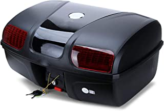 AUTOINBOX Universal Motorcycle Rear Top Box Tail Trunk Luggage Storage Case, 47 Litre Hard Case with Mounting Hardware, with LED Light, Black