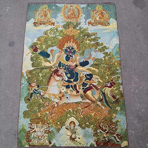 """REAPP Tibetanische Thangka. 35\""""Thangka Stickerei Tibetan Buddhismus Seide Stickerei Brokat Nepal Mahakala Buddha Statue Fahrt EIN weißes Pferd Thangkas (Size : 90x60 cm)"""