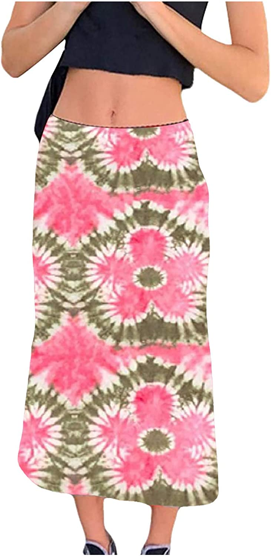 Womens Butterfly Print Long Skirt Casual High Waist Tummy Control Bohemian Retro Casual Skirt Maxi Skirts Long Skirts