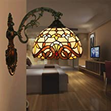 Wall Lamp - European Retro Wall Lamp, Baroque Lighting, European Church Stained Glass with Wooden Lamp Holder, E27 * 1,30 ...