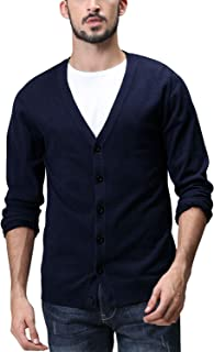 Matchstick Men's Button Through V Neck Knitted Cardigan #Z1522(Heather Blue,UK S (Asian tag Size L))