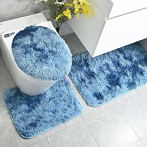 BEFAERY Juego de alfombras de baño teñidas con Lazo, Felpa Suave, 3 Piezas, Alfombrilla de baño Absorbente Antideslizante, Alfombra de Contorno en Forma de U y Cubierta de Tapa de Inodoro Lavable
