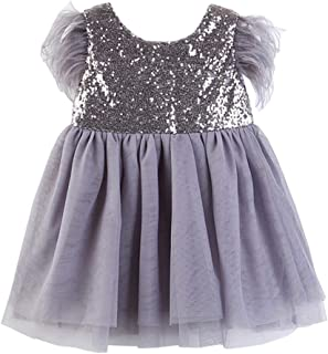 Fairy Baby Toddler Baby Girl Sequin Princess Dress Feather Dance Party Gown Tutu Skirt