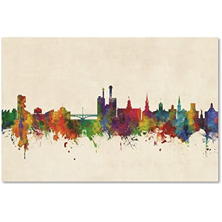 Salt Lake City Skyline By Michael Tompsett 30x47 Inch Canvas Wall Art Posters Prints