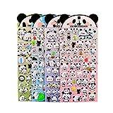 4 Sheets Cute Lovely Puffy DIY Decorative Adhesive Sticker Tape/Kids Craft Scrapbooking Sticker Set for Diary, Album (Panda)