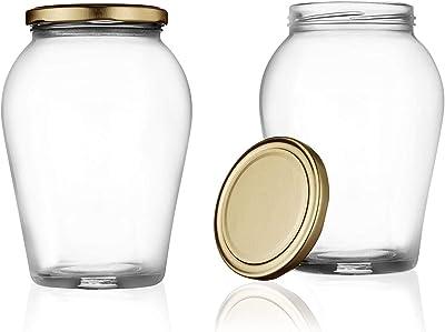DEEP ENTERPRISE 1000 ML Big Pot Glass Jar for Pickle Storage Dried Masla,Grocery,Grain Storage Jar (2)