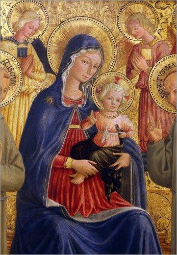 Lienzo 100 x 130 cm: Madonna and Child with St. Francis and Bernardine de Bartolomeo Caporali - cuadro terminado, cuadro sobre bastidor, lámina terminada sobre lienzo auténtico, impresión en lienzo