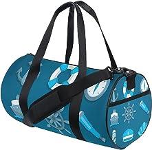 FANTAZIO Gym Duffel Bag Blauw Zeilen Pictogrammen Patroon Mens Gym Duffel Bag