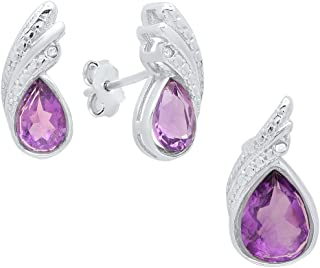 Dazzlingrock Collection Sterling Silver Pear Cut Amethyst & Round Diamond Accent Ladies Stud Earring & Pendant Set