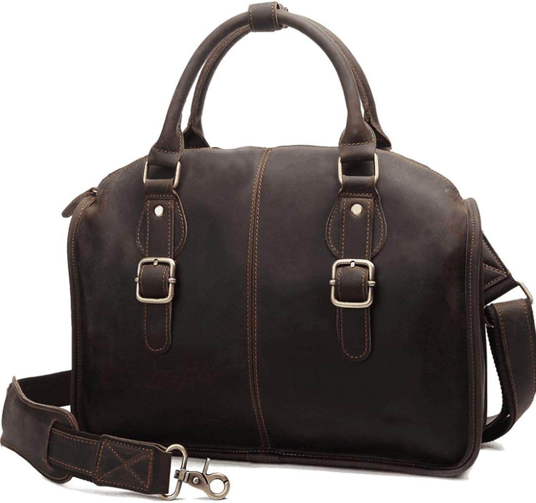 ArotOVL Echtes Leder Aktentasche für für für Männer Handtasche Schulter Messenger Satchel Tasche für Laptop (Farbe   braun) B07L8ZYQRP 353688