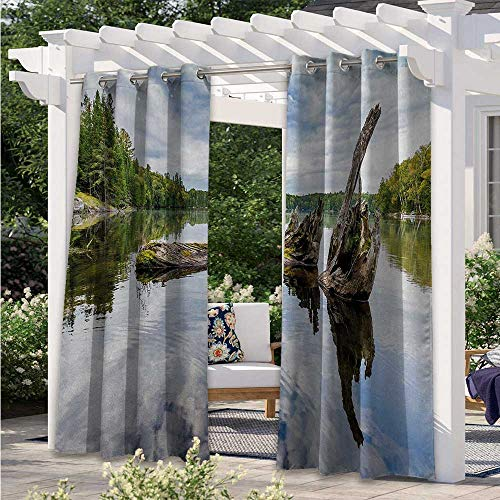 Outdoor Blackout Curtains Remains of a White Cedar Tree Trunk in the Lake and the Sky Digital Image Blackout Outdoor Curtain Drapes Durable, Water-Resistant, Opaque Green Pale Grey W120 x L96 Inch