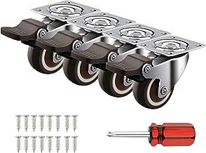 """4 Pack 1.25""""/32mm Caster Wheels Swivel Plate w/Break Casters On Black Polyurethane Wheels Heavy Duty - 100 lbs Total Capac..."""