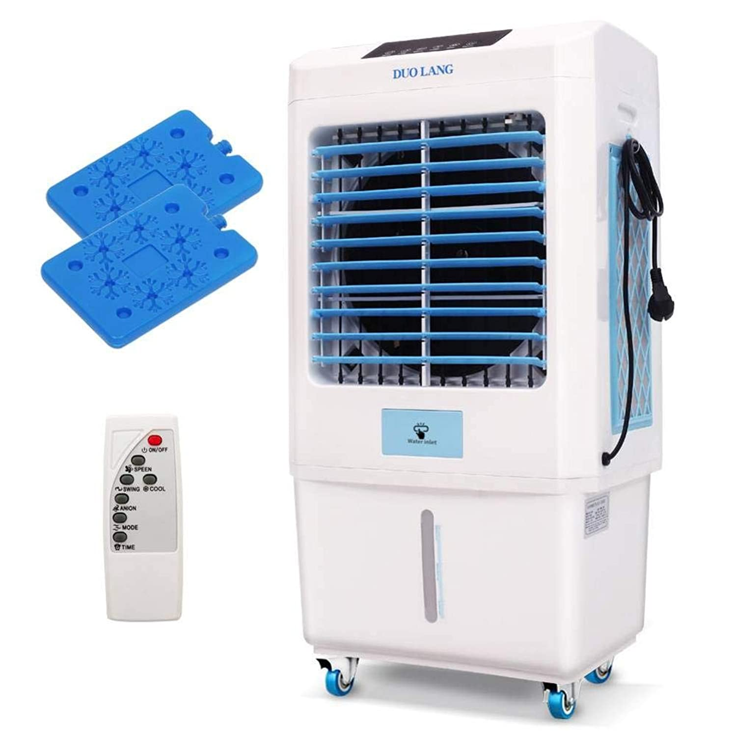 Foerteng-us Air Cooler, 4-in-1Portable Evaporative Air Cooler with Fan,Humidifier and Air Purifier, Remote Control and 3 Speeds Air Conditioner for Indoor Outdoor