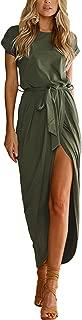 YOINS Damen Kleider Strandkleid Winterkleid Strickkleider für Damen Maxikleid Abendkleid Jerseykleider Weihnachtskleid Rundhals mit Gürtel
