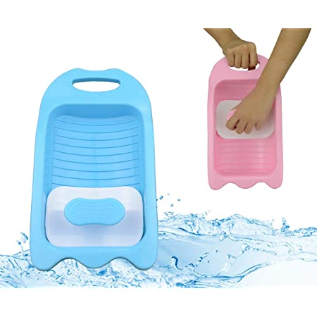 Washboard for Laundry Mini Hand Washing Machine Underwear Washboard Instrument Washboard for Washing Clothes Kid Washing Board Mask Laundry Board Manual Washing Machine Wash Basin Non Electric (Blue)