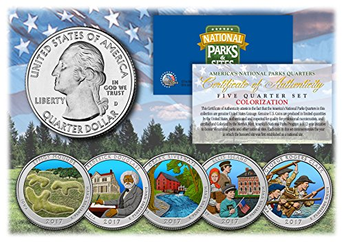 2017-America-The-Beautiful-COLORIZED-Quarters-US-Parks-5-Coin-Set-wCapsules