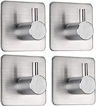 FOTYRIG Adhesive Hooks Heavy Duty Non-Slip Wall Hooks Waterproof Stainless Steel Wall Hangers Stick on Hooks for Hanging Dog Leash, Umbrellas, Scarves,Towels, Robes, Bags, Coats, Keys -4 Packs
