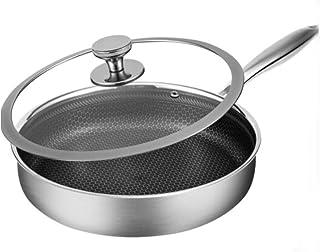 Bac à frire à fond plat à trois couches anti-bâton Épaissie ménage Femme non huileuse Cuisineuse à induction de cuisinière...