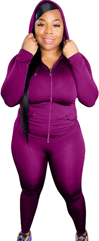 Plus Size Pants Suits - Stretchy Casual 2 Piece Tracksuits Zip Up Jacket + Long Pants