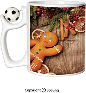 Gingerbread Man Sports Football Mug,Rustic Composition with Holly Berry Orange Slice Cinnamon and Biscuit Decorative Ceramic Coffee Cup,Brown Orange Red,Great Novelty Gift for Kids & Audlt