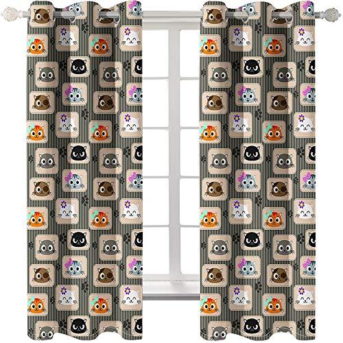 AMDXD 2 Paneles Cortinas Poliester Salon, Cortina para Salon Modernas Patrón de Gatos y Rayas Modernas Decoración para Habitación, Multicolor, 214x138CM